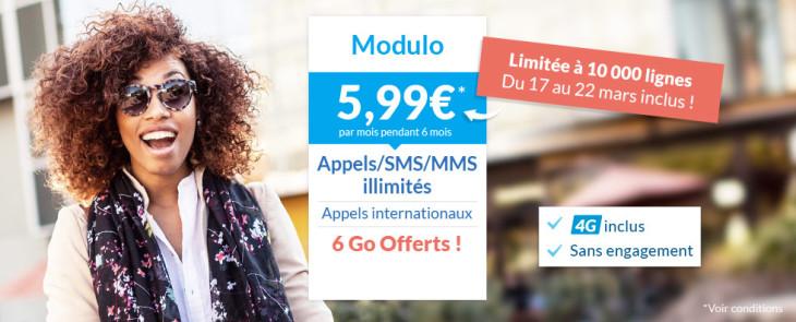Prixtel : forfait Modulo avec 6Go d'Internet 4G à 5,99€/ mois