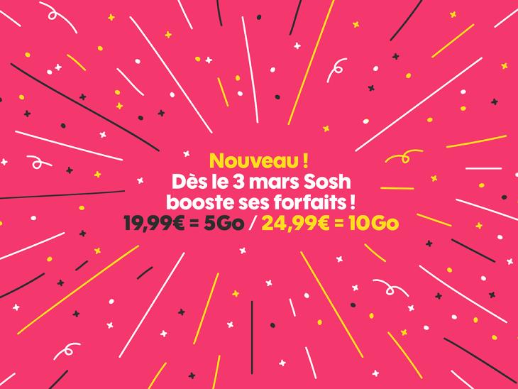 Sosh augmente la data Internet sur deux de ses forfaits !
