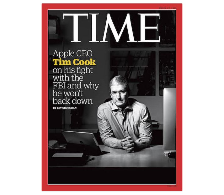 Tim Cook couverture Time Magazine - Apple : Tim Cook déterminé à combattre le FBI
