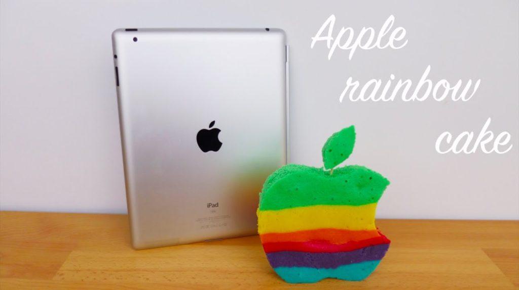 Apple cake logo arc en ciel 1024x574 - Insolite : cuisiner un cake aux couleurs du logo Apple arc-en-ciel