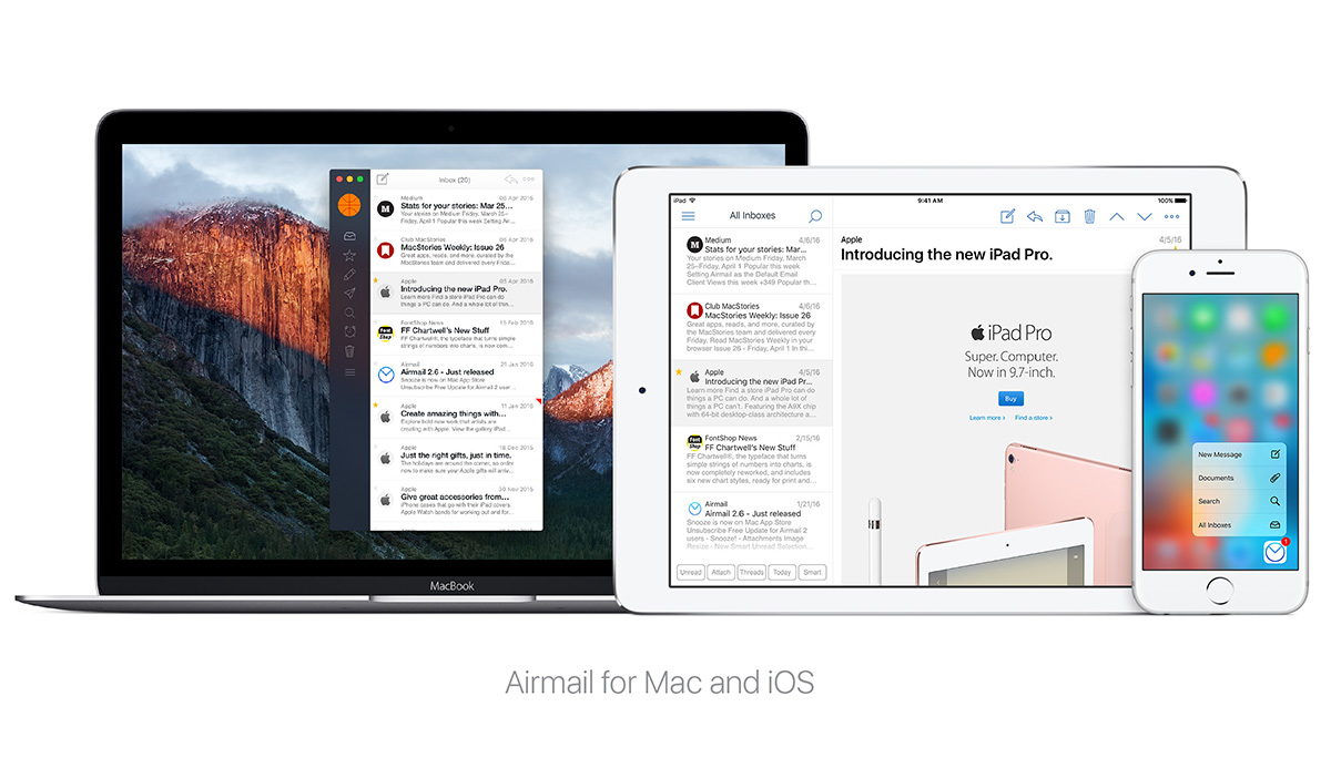airmail mac iphone ipad - Airmail est disponible sur iPad et supporte le Touch ID