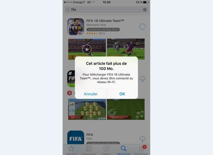 App Store : limite de téléchargement (100 Mo) des apps en 3G/4G augmentée