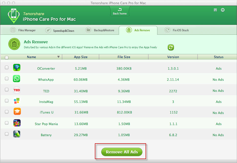 iPhone Care Pro Bloquer Publicite - iPhone Care Pro : un logiciel pour optimiser, nettoyer & accélérer l'iPhone