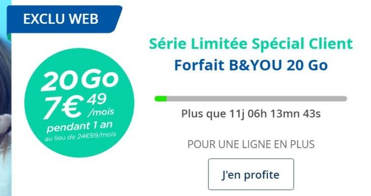 B&You : forfait 20 Go d'Internet 4G à seulement 7,49€/mois
