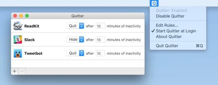 Quitter : un logiciel Mac pour quitter/masquer des apps automatiquement