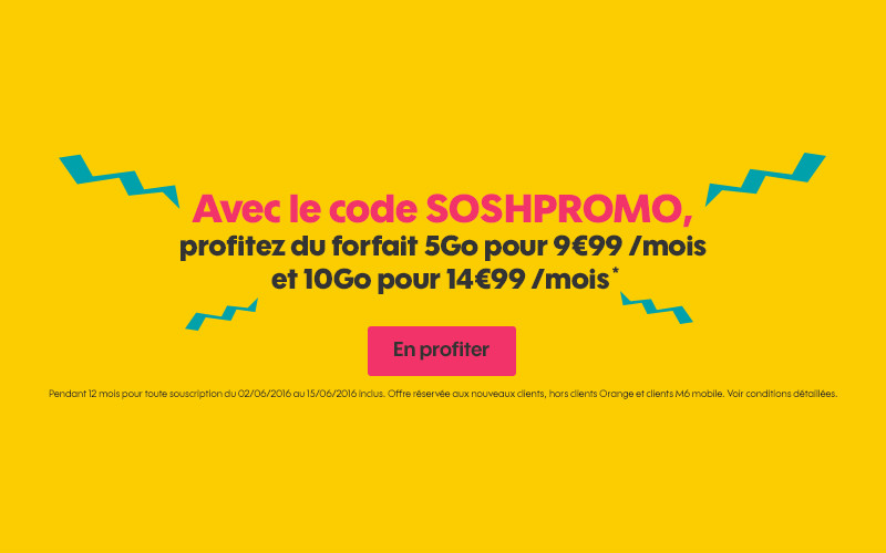SoshPromo juin 2016 - Sosh : -10€ sur 2 forfaits 4G avec le code promo SOSHPROMO
