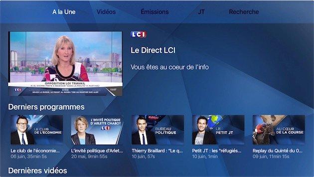 Apple TV 4 : la chaîne LCI est disponible