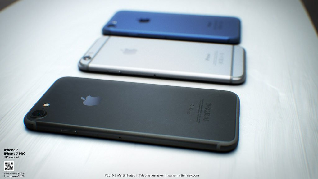Concept iPhone 7 Bleu Noir Hajek 1 1024x576 - iPhone 7 : le minimum de 32 Go confirmé ?