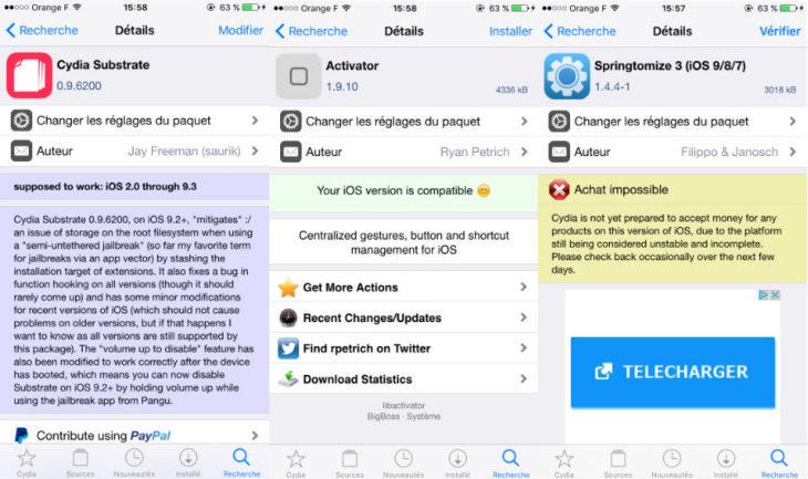 Jailbreak iOS 9.3.3 : Springtomize 3, Activator, Cydia Substrate mis à jour