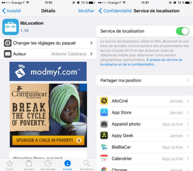 Jailbreak iOS 9.3.3 : LibLocation corrige le problème de localisation GPS