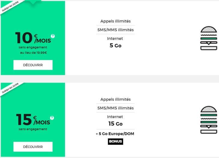 SFR RED : forfaits illimités avec 5 & 15 Go d'Internet à 10 & 15€/mois