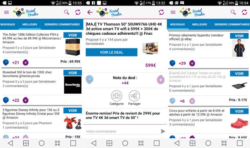 Serial Dealer application Android - Serial Dealer : les bons plans sur Internet, près de chez soi