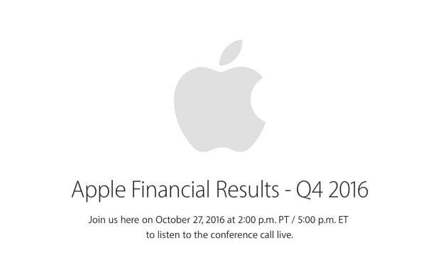 apple devoilera resultats financiers q4 2016 27 octobre - Apple : résultats financiers du Q4 2016 annoncés le 27 octobre
