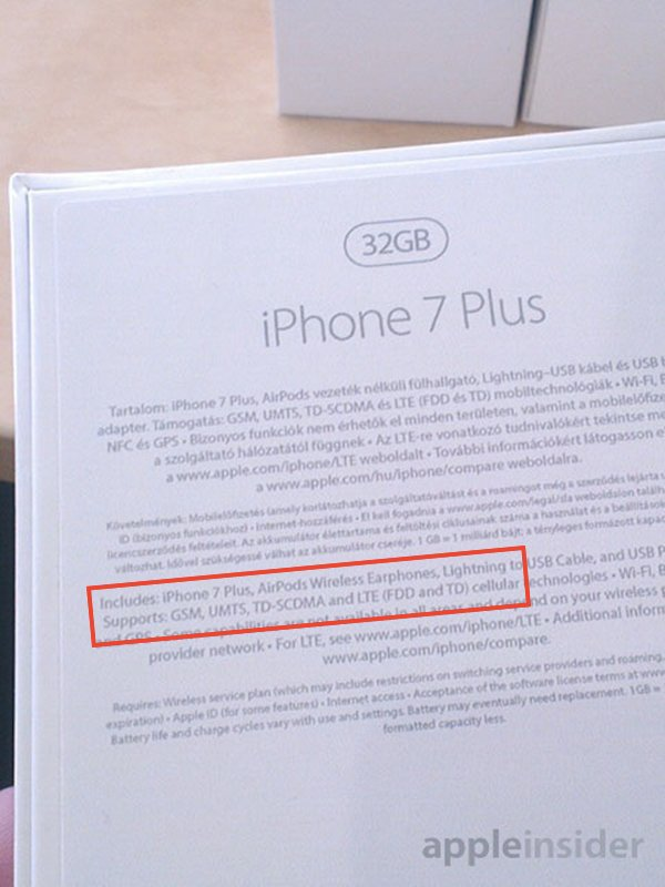 iphone 7 plus airpods bluetooth livres dans pack - L'iPhone 7 Plus vendu avec des AirPods Bluetooth ?