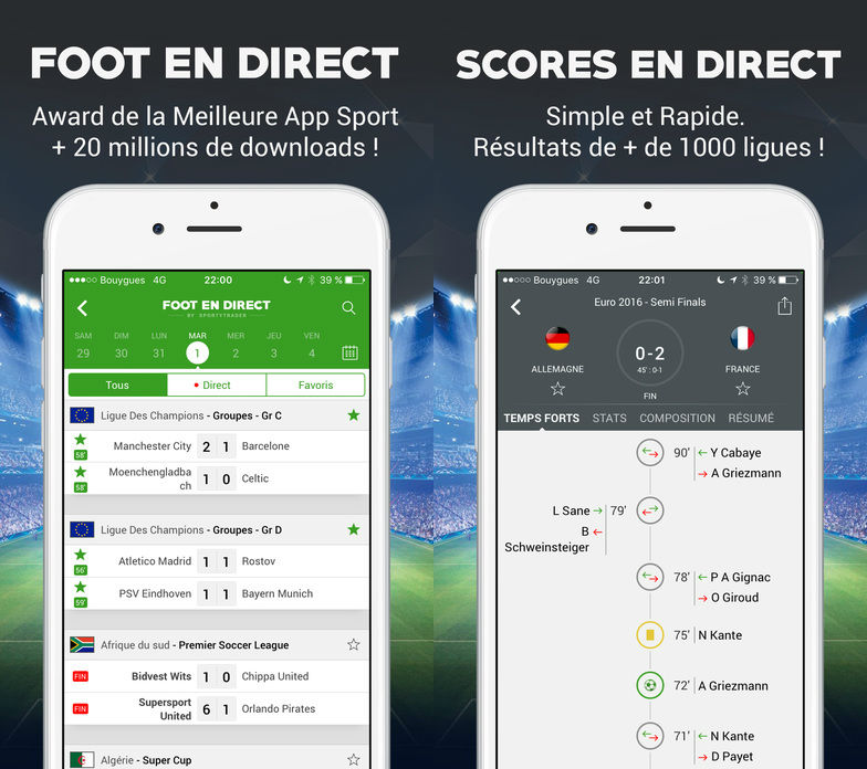 foot en direct iphone - Foot en Direct : l'app ultime de football sur iPhone, iPad, iPod Touch