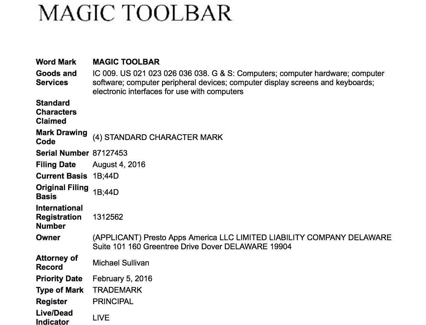 macbook pro 2016 nom de barre oled pourrait etre magic toolbar - MacBook Pro 2016 : le nom de la barre OLED pourrait être Magic Toolbar