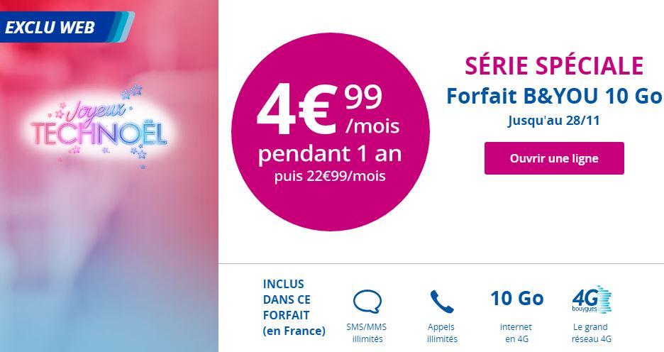 TechNoel B and You 10go 4.99 euros - B&You : un forfait 4G 10 Go à 4,99€/mois pendant 1 an !