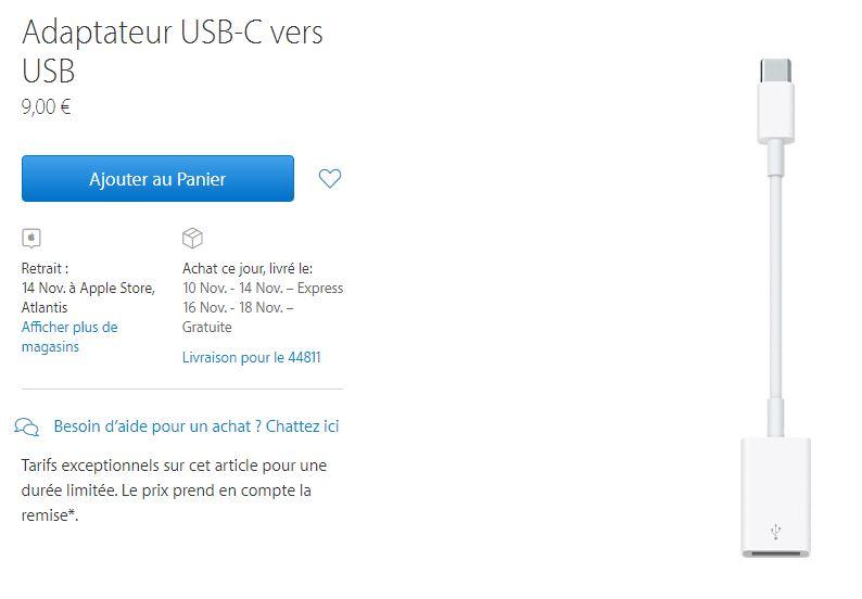 adaptateur usb c vers usb apple 9 euros - Apple : baisse des prix des adaptateurs USB-C & écrans 4K/5K