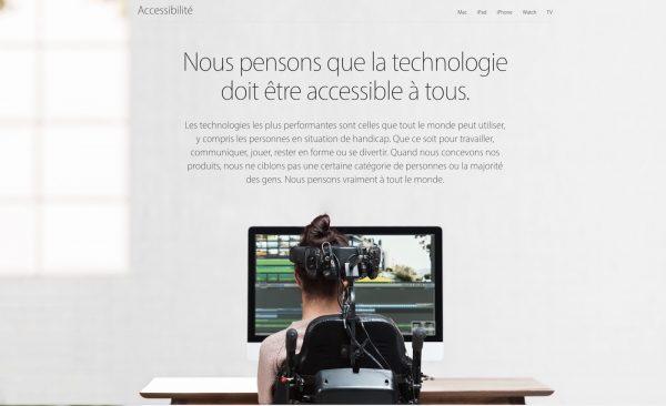 """Apple : la nouvelle page """"Accessibilité"""" disponible en français"""