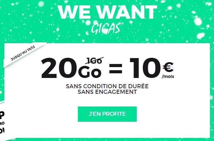 SFR RED : le forfait à 10€/mois passe à 20 Go (4G) à vie pour Noël