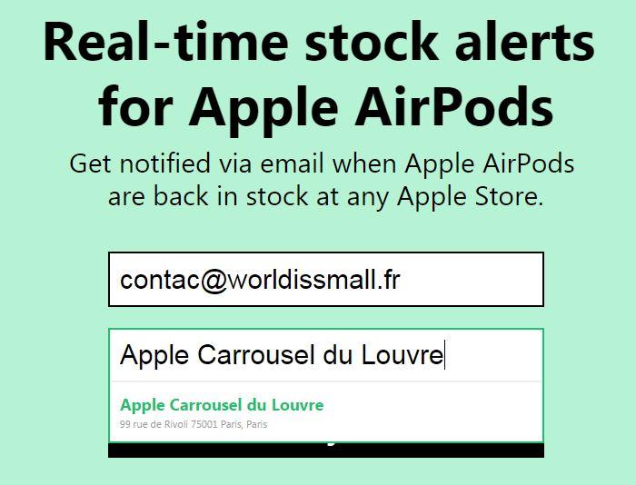 Apple store airpods alerte dispo - AirPods : soyez alerté de leur disponibilité en Apple Store