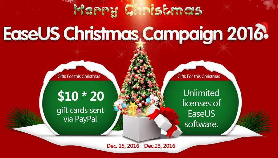 easeus noel 2016 - Noël 2016 : des cartes cadeaux Paypal & des logiciels EaseUS à gagner