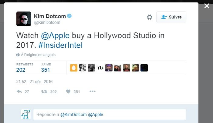 kim dotcom twitter apple hollywood - Apple pourrait racheter un studio hollywoodien en 2017