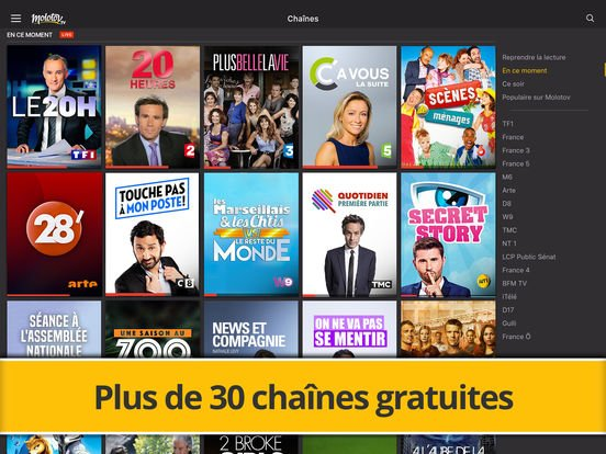 Molotov : bookmarks, support Chromecast et ajout de Ciné+