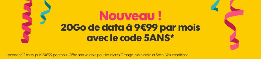 sosh 20go 9 99 euros code 5ans - Sosh : le forfait 4G à 9,99€/mois passe à 20Go pendant 1 an !