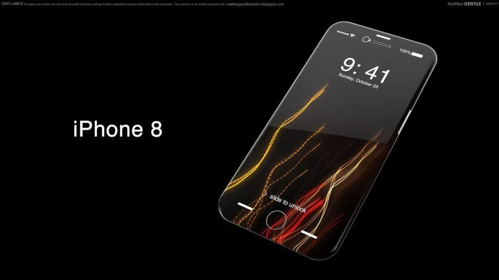 Concept : un iPhone 8 sans bordure, par Matteo Gentile