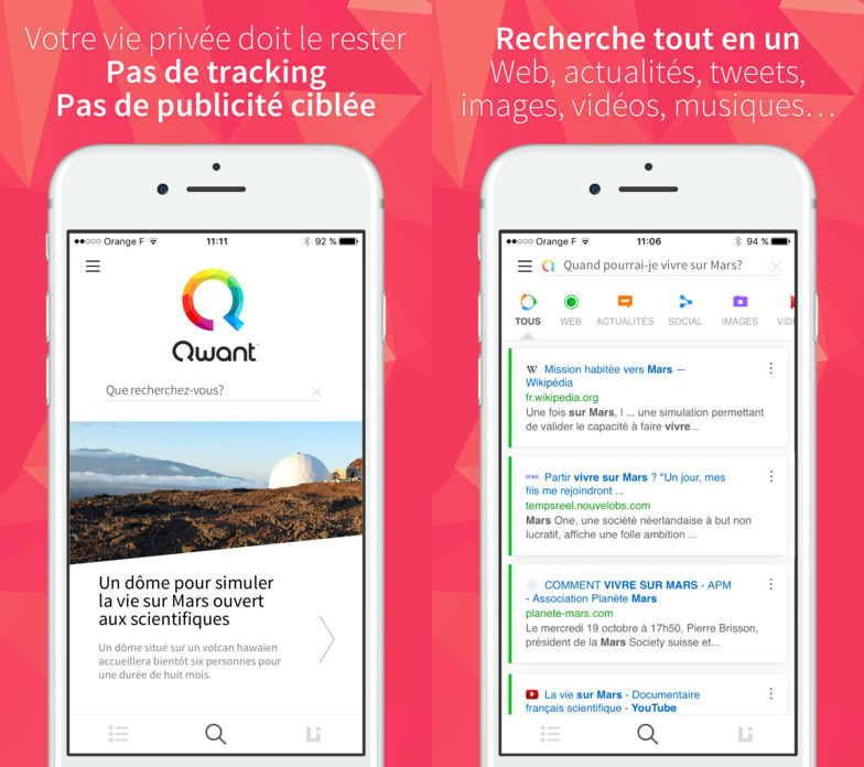 Qwant iphone application - Qwant : le Google français disponible sur l'App Store
