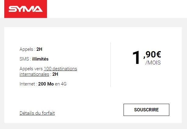 SYMA forfait 1 90 euro - Syma : un forfait à 1,90€/mois pour concurrencer Free Mobile
