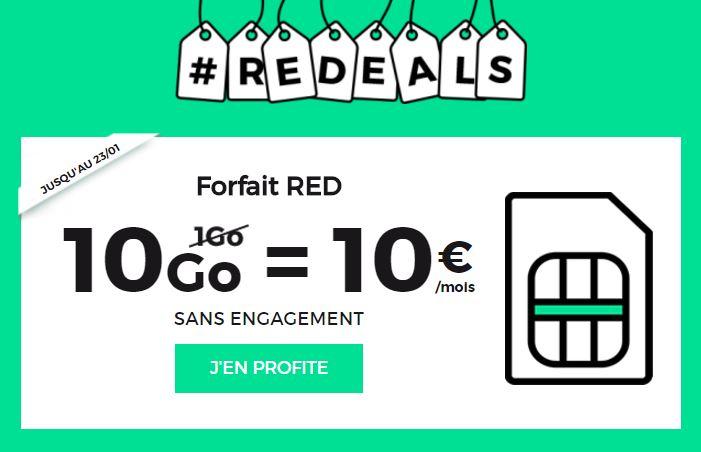 Soldes 2017 : forfait 4G SFR RED avec 10Go à 10€/mois à vie