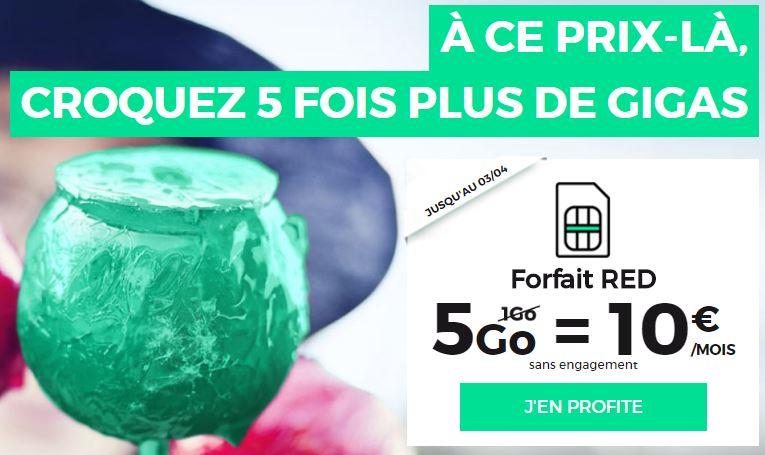 SFR red 5go 10 euros mars 2017 - RED SFR : 2 forfaits en promo à vie (5Go à 10€/mois, 15+5Go à 15€/mois)