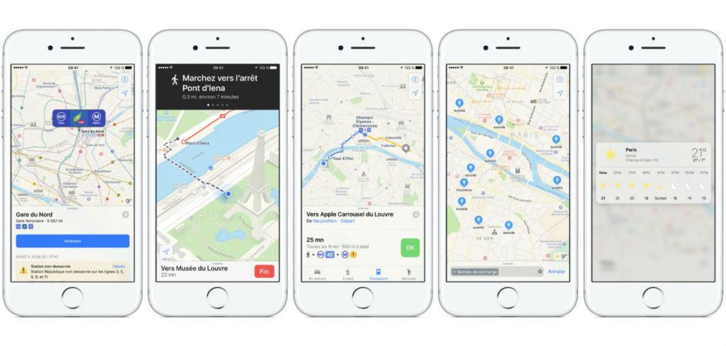 Apple Plans transports commun Paris iPhone 1024x489 - Plans : Apple ajoute enfin les transports en commun à Paris
