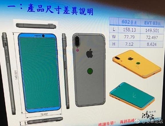 iphone 8 double capteur vertical touch id schema - iPhone 8 : un schéma dévoile les dimensions et le Touch ID à l'arrière