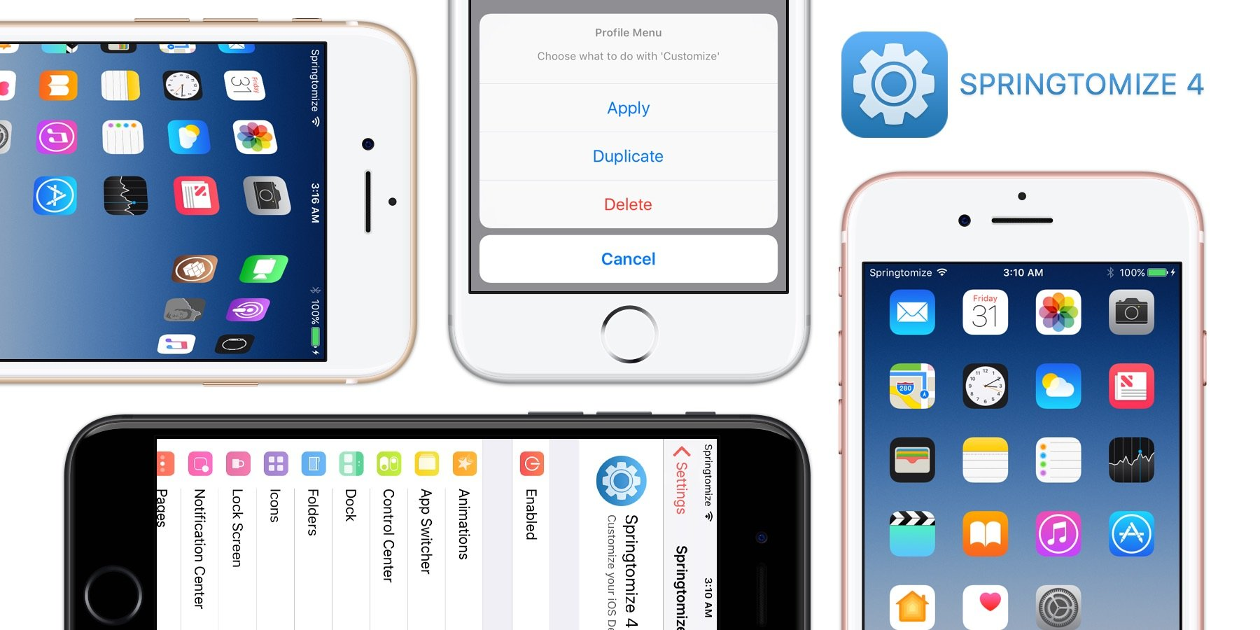 springtomize 4 CYDIA jailbreak - Cydia : Springtomize 4 disponible pour le jailbreak iOS 10