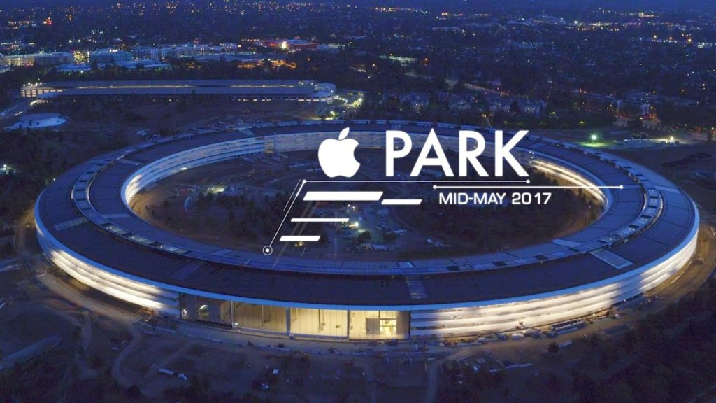 apple park nuit 1024x576 - Apple Park : une vidéo du campus prise de nuit par un drone