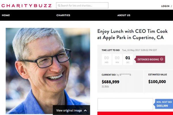 dejeuneur avec tim cook apple park 688 999 dollars - Enchères : 688 999 dollars pour déjeuner avec Tim Cook à l'Apple Park