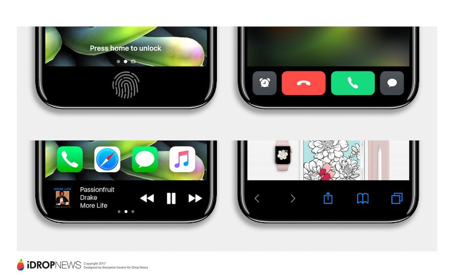 "iPhone 8 Function Area iDrop News Exclusive 7 - iPhone 8 : un concept axé sur la ""zone de fonction"""