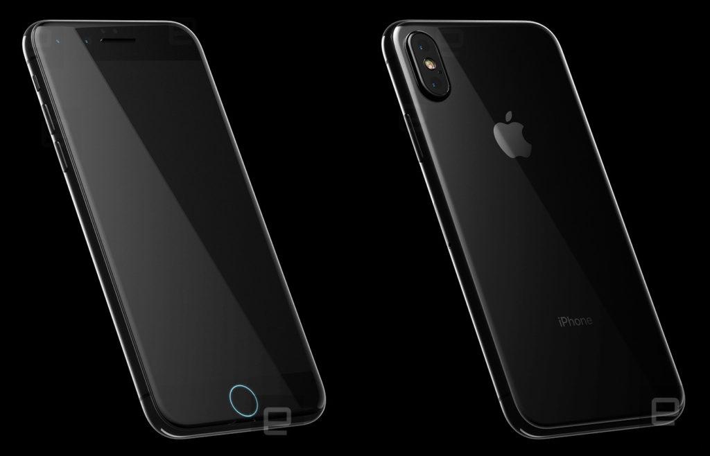 rendu iphone 8 avant arriere engadget 1024x658 - iPhone 8 : nouveau rendu, façade arrière en verre et recharge sans fil