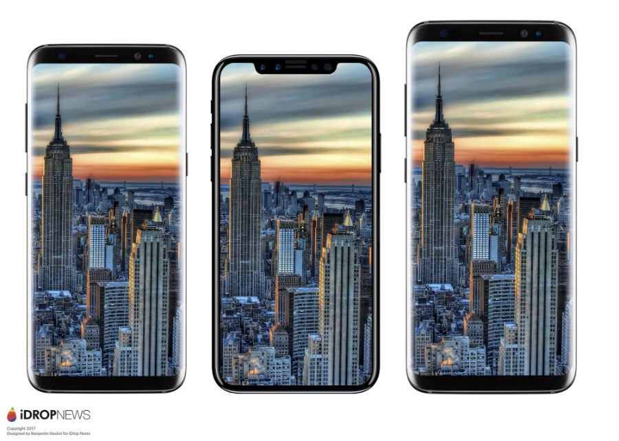 Maquette iPhone 8 vs Galaxy S8 vs Galaxy S8 Plus - iPhone 8 : une maquette comparée à l'iPhone 7 et au Galaxy S8