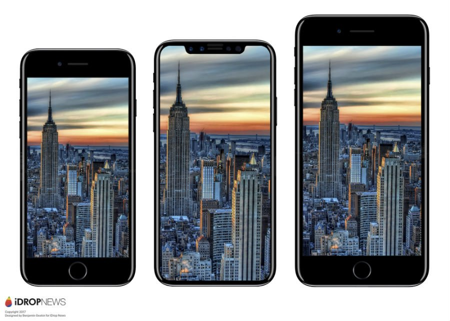 Maquette iPhone 8 vs iPhone 7 vs iPhone 7 Plus avant - iPhone 8 : une maquette comparée à l'iPhone 7 et au Galaxy S8