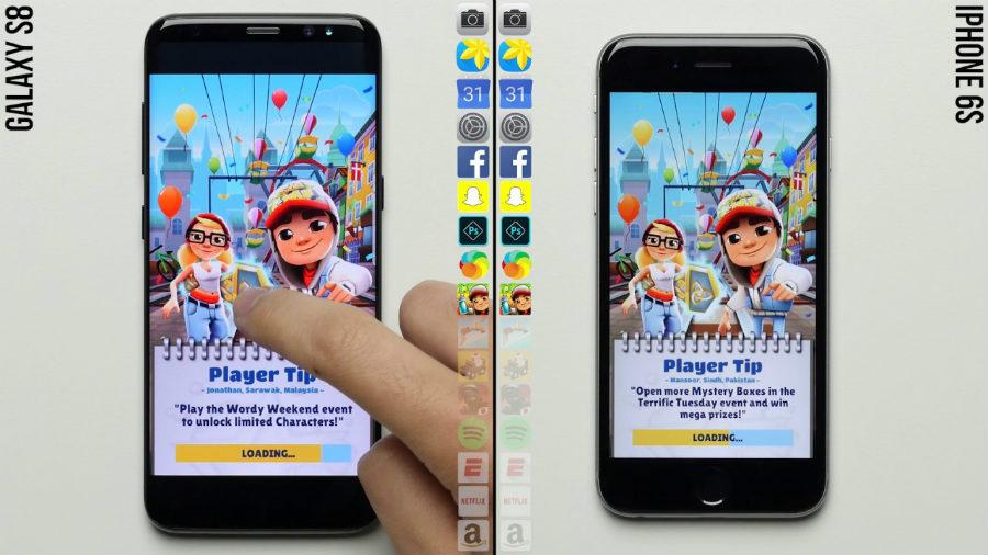 galaxy s8 vs iphone 6s test vitesse - Insolite : l'iPhone 6S plus rapide que le Galaxy S8 dans un test de vitesse