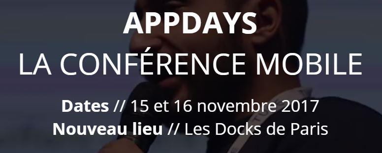 appdays 2017 - AppDays 2017 : 6e édition de LA conférence mobile les 15 & 16 novembre