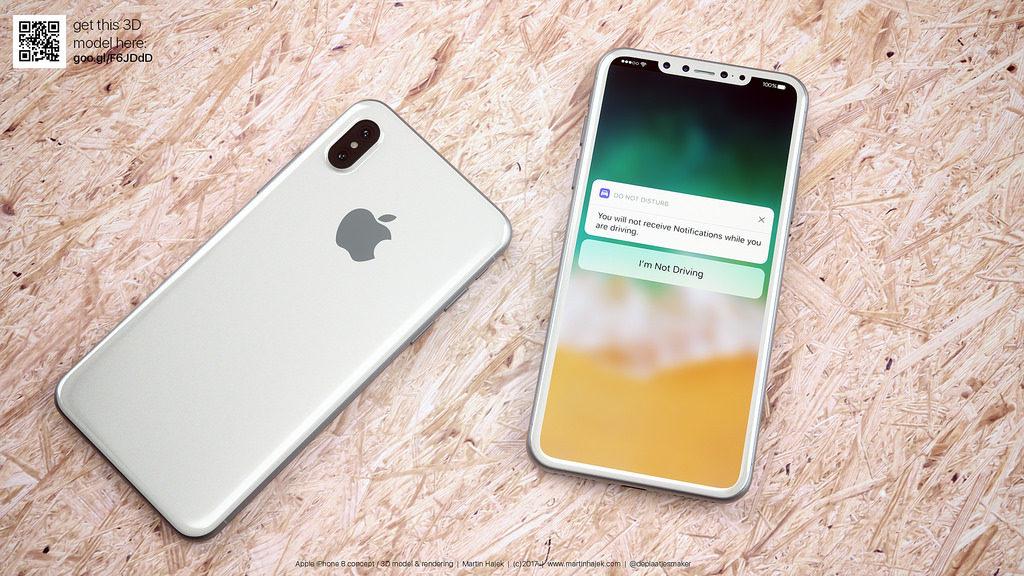 iPhone 8 blanc concept 5 1024x576 - La sortie de l'iPhone 8 repoussée à novembre à cause de son design ?
