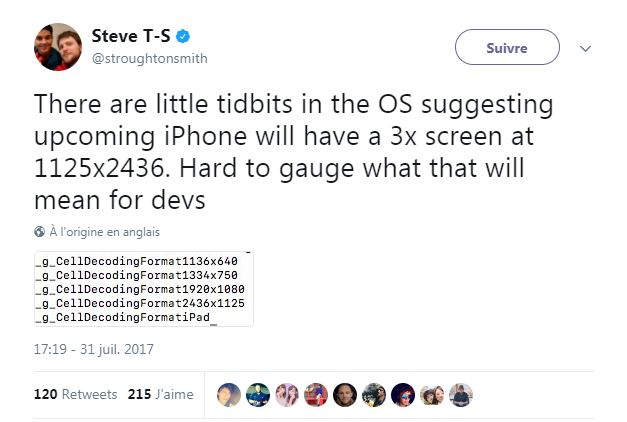iPhone 8 : une définition de 2 436 × 1 125 pixels pour l'écran ?