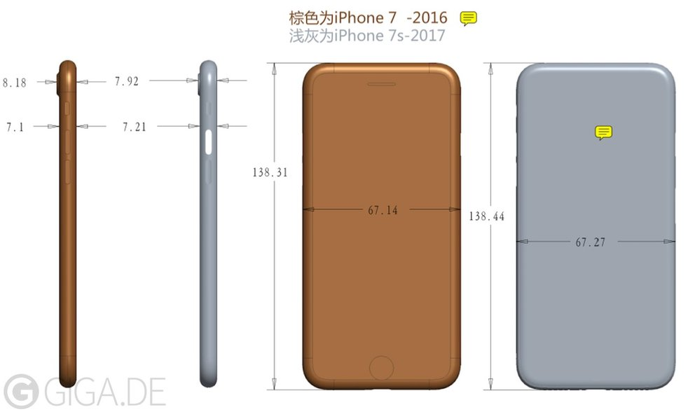 iphone 7s 7 dimensions giga apple - L'iPhone 7S serait plus grand et plus épais que l'iPhone 7