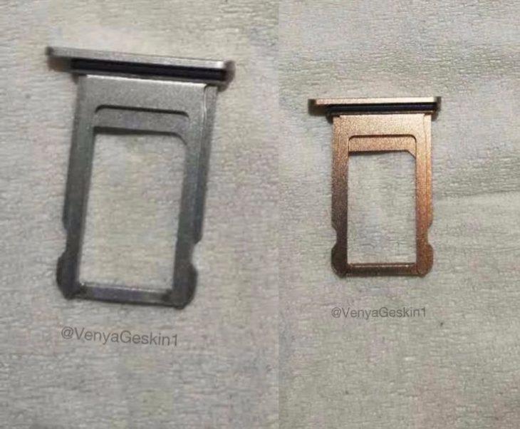 iPhone 8 : des photos de tiroirs pour la carte SIM (argent et or/cuivre)