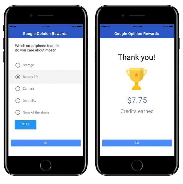 Google Opinion Rewards (iOS) : gagner de l'argent en donnant son avis